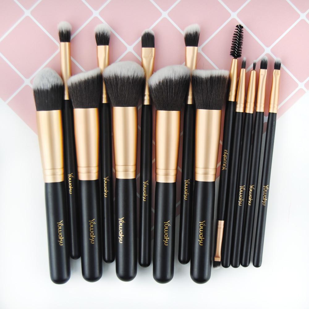 Кисти для макияжа, 14 шт., розовая Золотая кисть для основы, пудра, Кисть для макияжа бровей, инструмент для красоты, щетка для макияжа с деревянной ручкой|Аппликатор теней для век|   | АлиЭкспресс - Кисти для макияжа