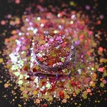 1KG chameleon Aurora Nail Glitter Sequins Flakes 1000gram/bag Holographic Shining Nail Art Powder Dust Dazzling Nail Decoration