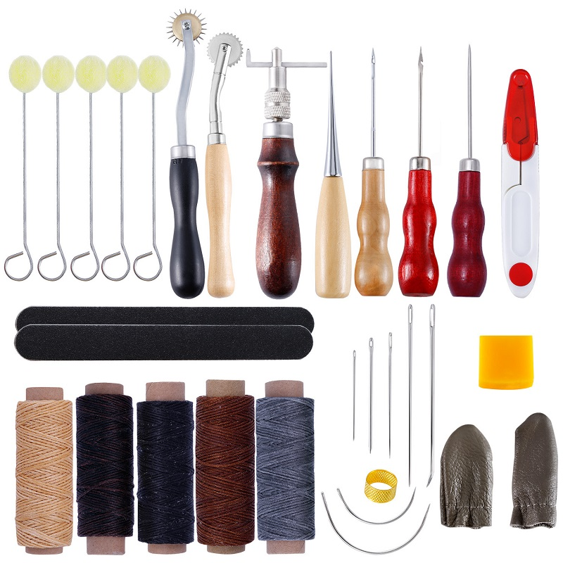 U V Shaped Stitching Groover Skiving Edge Beveler and Large Eye Sewing Needles 1+2+4+6 Prong Lacing Stitching Punch Leather Crafts Tool Leather Craft Tool Hole Punches