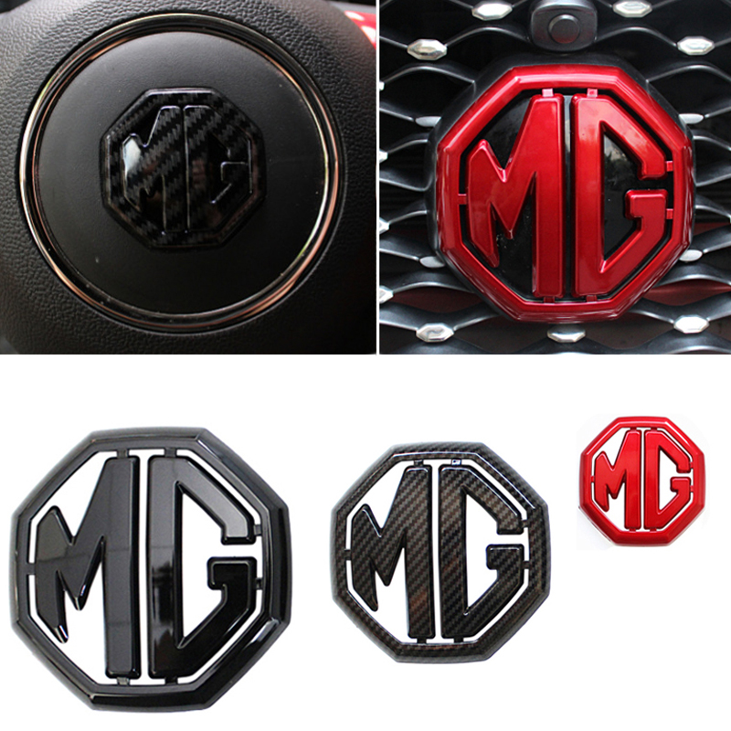 3 Colors For 2017 2018 2019 MG ZS Morris Garage ABS Car Label Emblem Head Grille Rear Steering Wheel Sticker Replacement