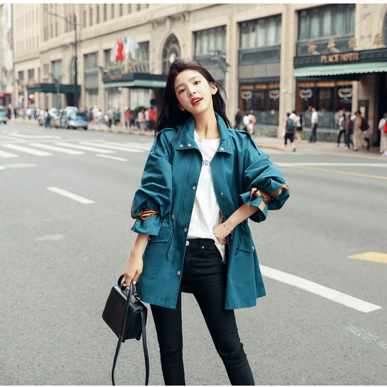 2019 New Spring Ladies   Trench   Coat For Women Lapel Collar Lantern Sleeve Single Breasted Women Coat Casual Outwear Coats