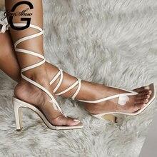 цена GENSHUO Summer PVC Transparent Ankle Cross Strap High Heels Shoes Women Sandals Peep Toe Sexy Party Female Shoes Woman Sandalias онлайн в 2017 году