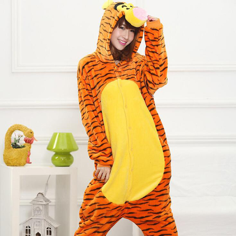 Women 3D Tiger Cosplay Kigurumi Onesie Adult Funny Animal Sleepwear For Man Loose Warm Anime Pajamas Jumpsuit Winter Onepiece