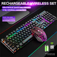 T3 Wireless Gaming Keyboard and Mouse Combo with Rainbow LED Backlit Rechargeable 4000mAh Battery Mechanical Ergonomic Combos