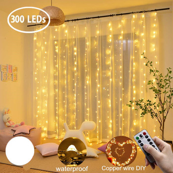 Curtain LED 3x3m 300led string light USB fairy icicle copper wire remote control Christmas wedding garden window outside - discount item  57% OFF Outdoor Lighting