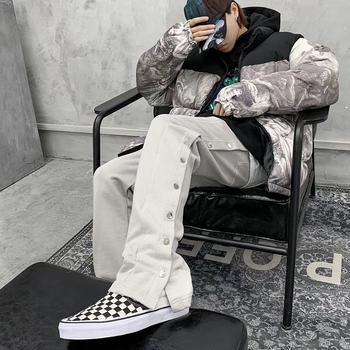 Podwójne guzik boczny spodnie dresowe dla joggerów mężczyźni elastyczna talia Streetwear luźne na co dzień spodnie Hip hopowe szerokie nogawki Harajuku spodnie Cargo tanie i dobre opinie HANGJIA elegancki Elastyczny pas Mieszkanie Pełna długość POLIESTER COTTON REGULAR Z PASKIEM Z BOKU linbu średniej wielkości