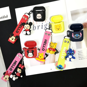 Cute Bluetooth Wireless Earphone Cases for AirPods Air pods with Mickey Minnie Toy Handline for Apple i10 i13 TWS Mobile Stand image