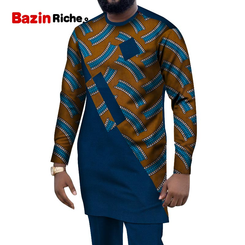 2020 African Men Suits Dashiki Clothing Print Shirts Tops+pants With Pockets 2 Piece Set Ankara Patchwork Outfit Blouse WYN1004