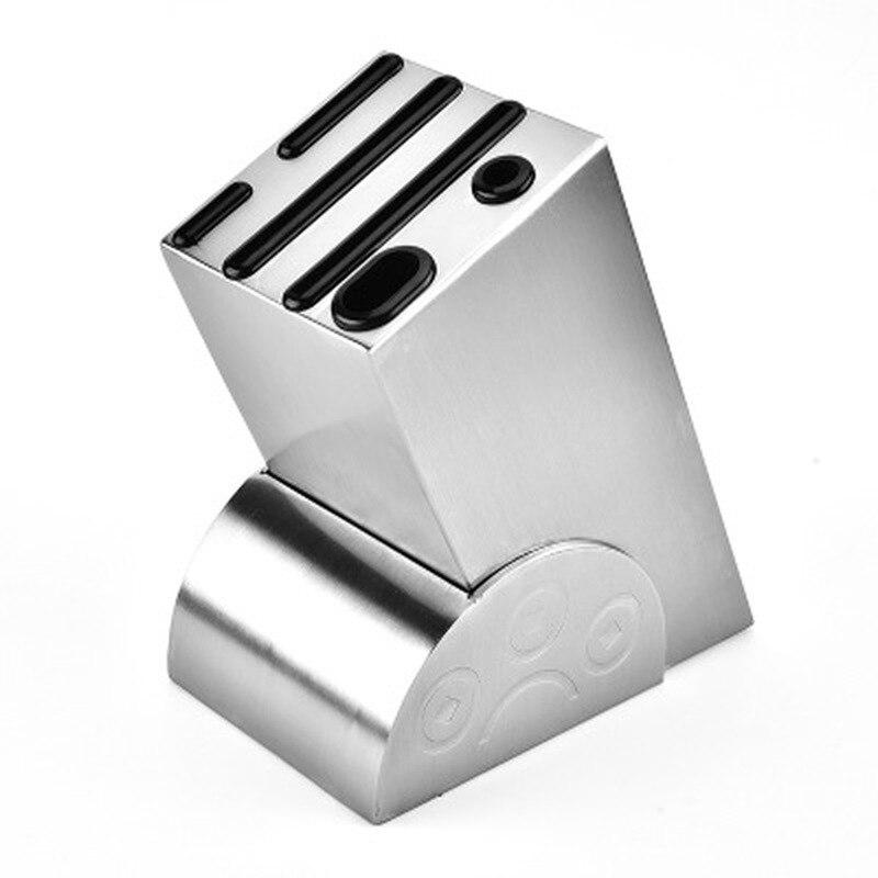Kitchen Knives Block Modern 6-Slot Stainless Steel Kitchen Knife Storage Block Holder &holder Knives Knife Bags For Chefs