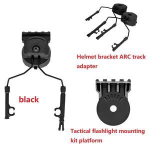 Image 3 - Outdoor Jacht Tactische Zaklamp Gemonteerd Op De Helm Beugel Geschikt Tactische Beugel Helm Arc Spoor Adapter Bk