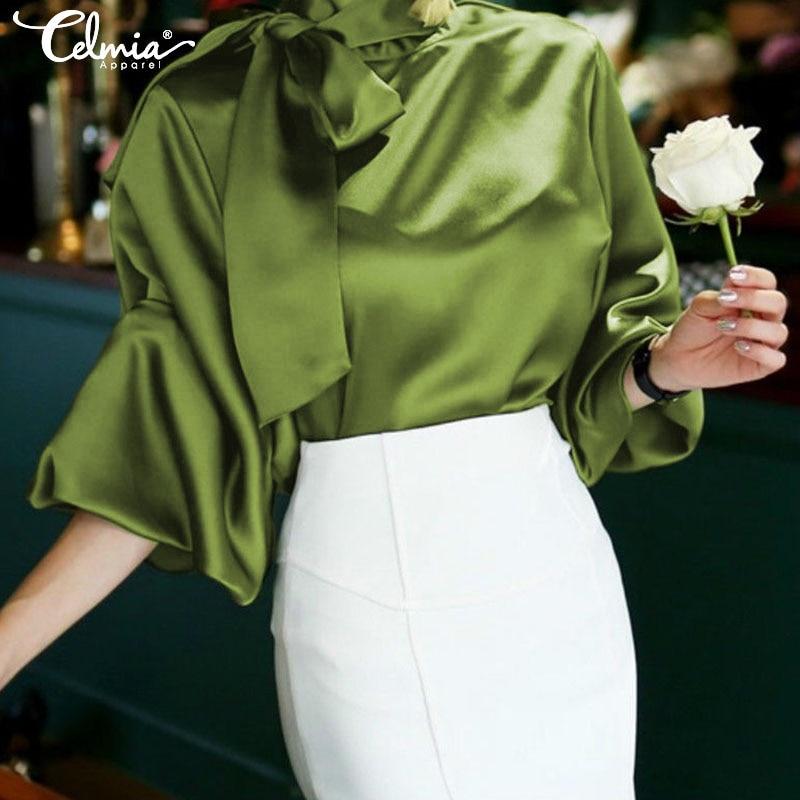 Celmia Fashion Women Satin Blouse 2019 Elegant Bow Tie Neck Lantern Sleeve Plus Size Top OL Office Shirt Casual Blusas Mujer 5XL