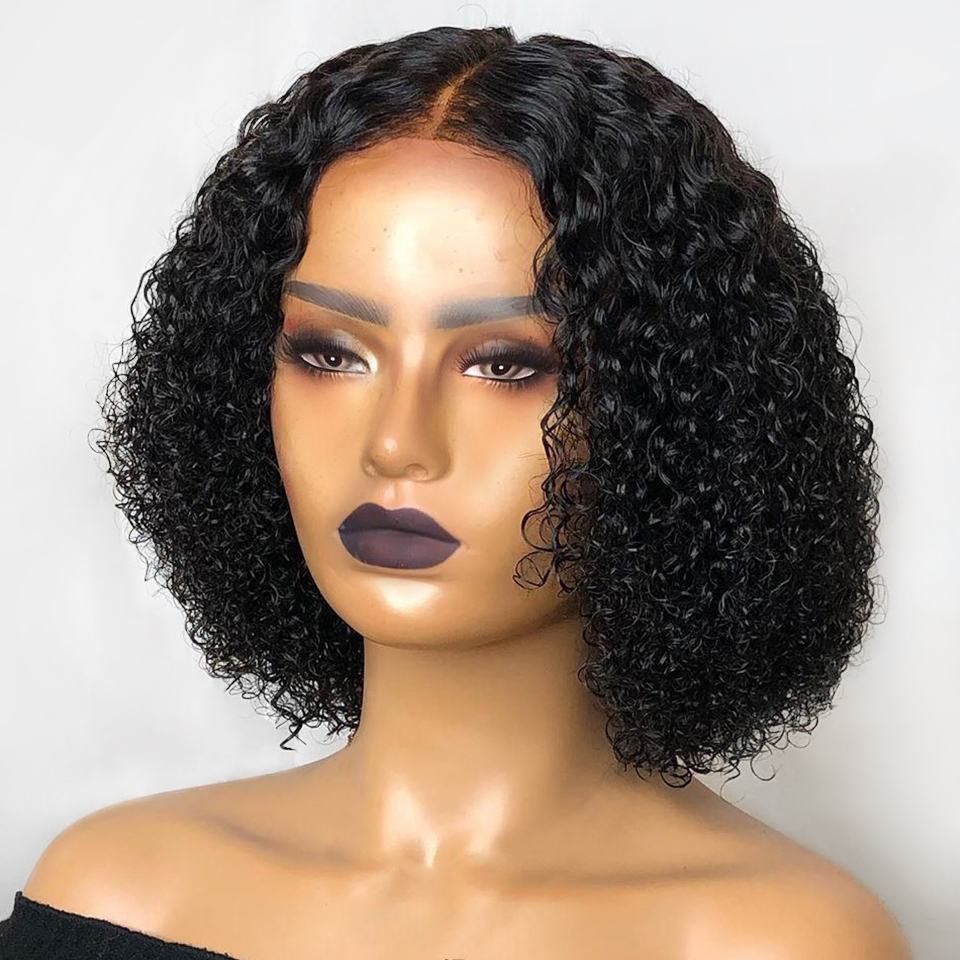 Short Curly Glueless 4*4 Inch Silk Top Lace Front Human Hair Wigs Baby Hair 180% Density Silk Base Wigs Natural Hairline Remy
