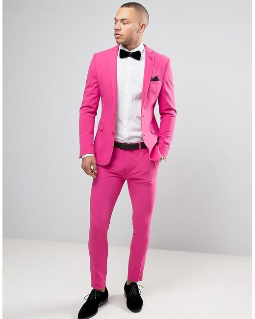 Hot Pink Men Suits Custom Made Casual Blazer Beach Tuxedo Colorful Summer 2 Pieces Slim Fit Terno Masculino (Jacket+Pants)