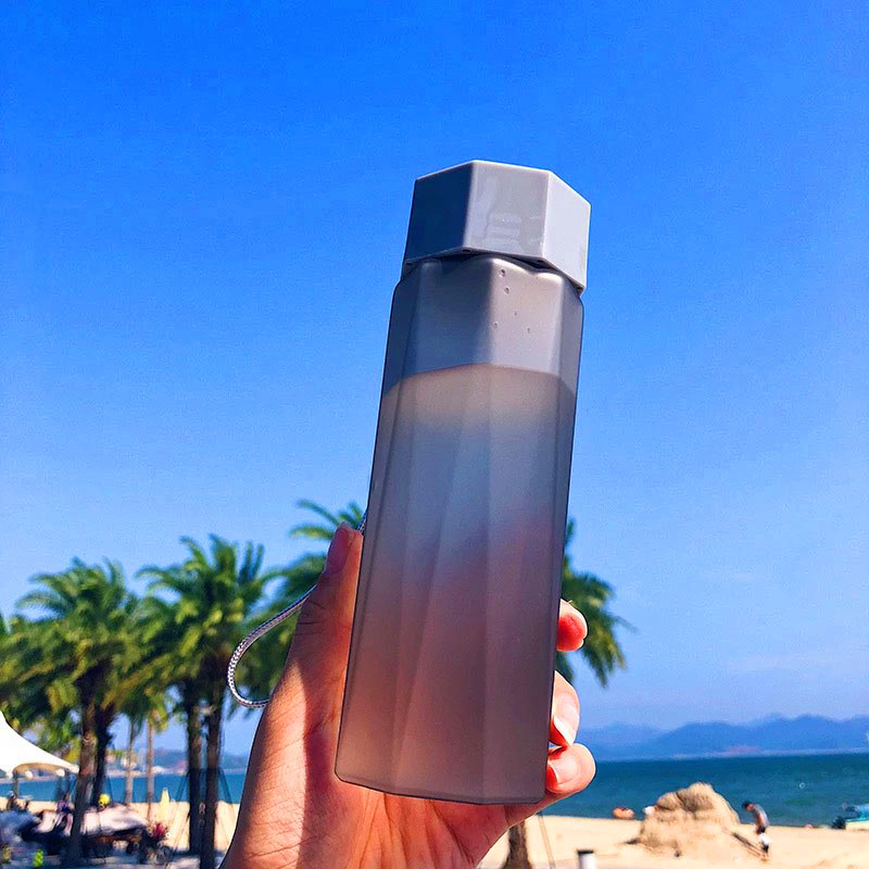 380ML Frosted Water Bottles 4 Color Crystal Water Bottle Three Dimensional Cutting Plastic Tea Bottle Portable with Handle in Water Bottles from Home Garden