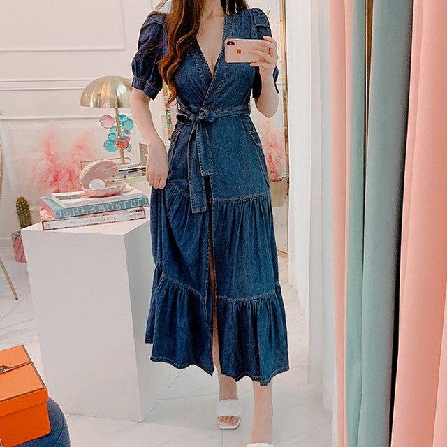 COIGARSAM mode manches courtes femmes robe longue nouvelle ceinture taille haute col en v robes bleu 7230