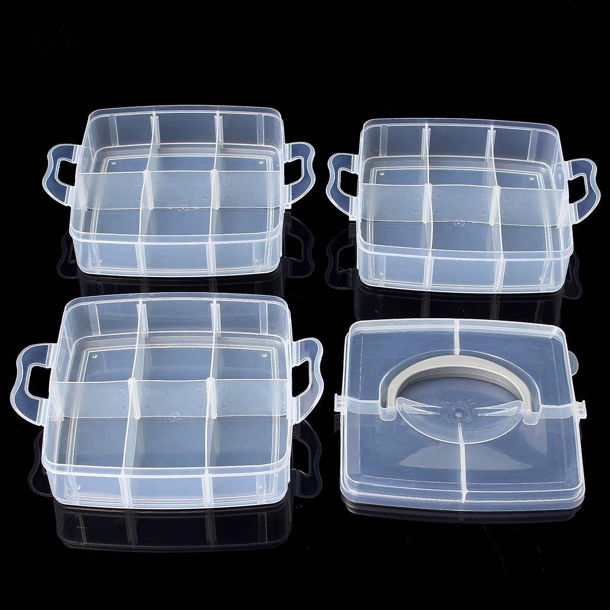 20 White Plastic Jewelry Beads Sorting Trays Storage Container Case For Craft