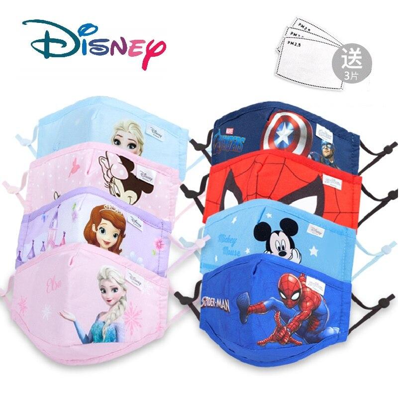 Novo!!!! Disney crianças máscaras de algodão lavável reutilizável crianças máscara facial congelado marvel spiderman criança máscara boca com filtro pm2.5 5