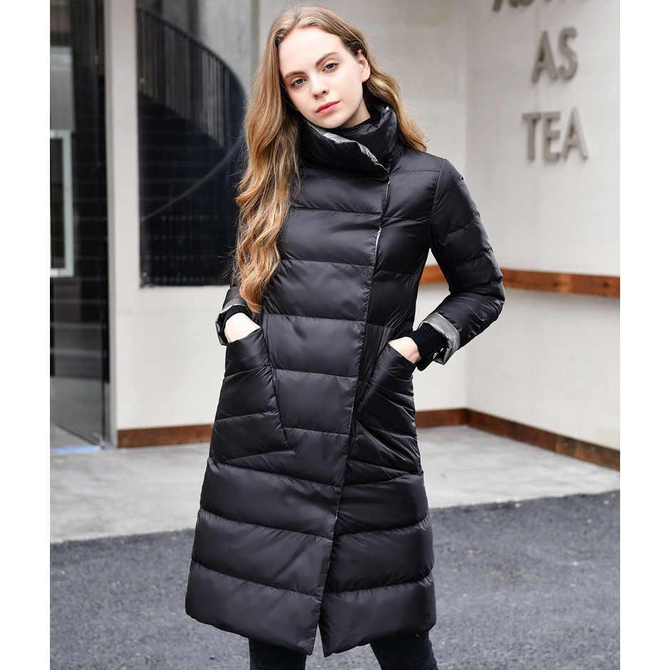 2019 女性の冬のコートは襟白アヒルダウンインナー女性ライトロングジャケットコート女性コート Casaco Feminino パーカー