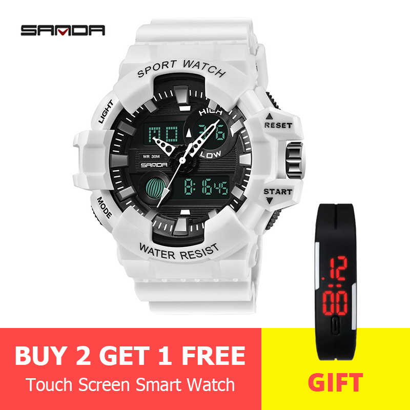 SANDA Watches Clock G-Style Digital Military Sports Waterproof Relogio Men's LED Masculino