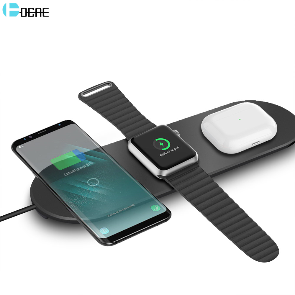 DCAE Wireless Charger Pad 3 in 1 Qi 15W Fast Charging Dock for Apple Watch iWatch 5 4 3 AirPods Pro For iPhone SE 2 11 XS XR X 8