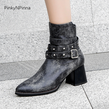 2019 chunky heels ankle retro western boots women short plush buckle strap zipper rivet large size fashion cowboy shoes female