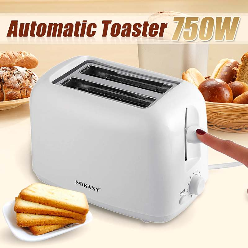 750W 2 Slots Automatic Electric Bread Toaster 5 Gears Timing Mini Household Breakfast Baking Bread Maker Machine Kitchen Tool