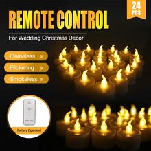 24PCS Flickering Remote Control Candles For Valentine's Day Decoration Flameless Electric LED tealights Christmas candle lights led candles remote control electronic flameless breathing candle lights wedding party christmas decoration