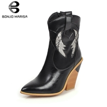 BONJOMARISA New Autumn Plus Size 33-46 Brand Booties Lady Ankle Western Boots Women 2019 Fashion Black High Heels OL Shoes Woman