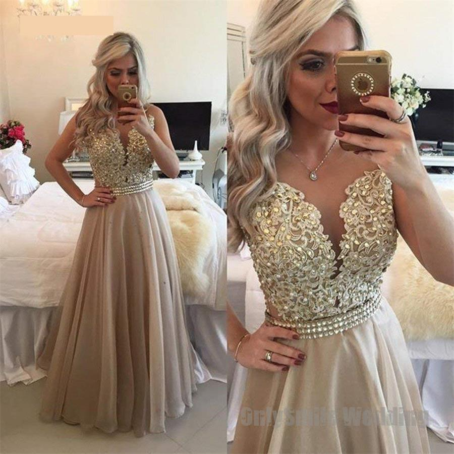 Chiffon Beaded Long Prom Dress Sheer Back Lace Applique Sleeveless Formal Gown O-Neck Floor Length Evening Dresses Vestido Festa