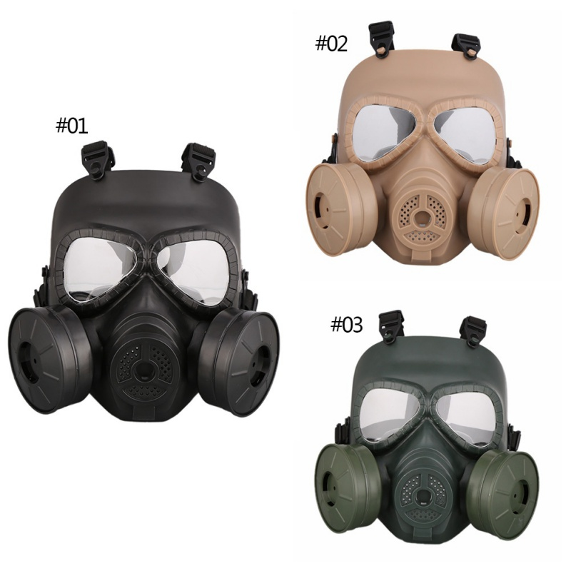 2020 Outdoor Full-covered Gas Mask Men Women PC Lens Adjustable Shock Resistance Anti-virus Breathable Face Masks
