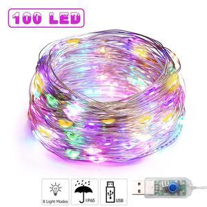 1-10m USB LED Christmas Tree New year's Garlands Fairy Lights Festoon String Light for Outdoor Home Window Wedding Decorative