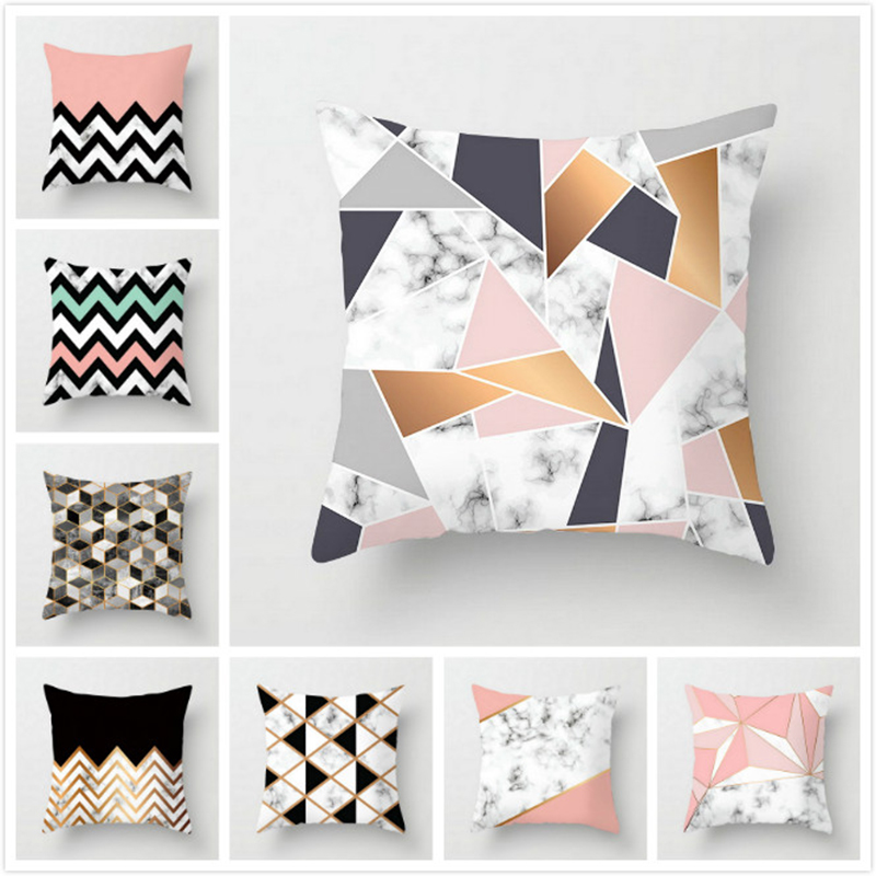 45*45cm New Geometric Stripe Pillow Case Square Polyester Pillowcases Bedroom Home Office Decorative