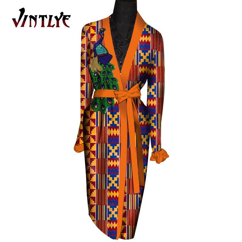 mulher dashiki impressão casaco longo com cinto