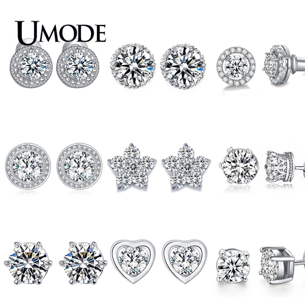 UMODE Fashion Korean AAA+ Clear Cubic Zirconia Small Stud Earrings for Women Flower Heart Round Star Waterdrop Jewelry UE0012X