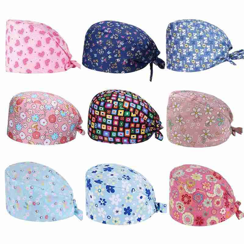 New Printed Surgical Cap Doctor Nurse Work Cap Unisex Medical Surgery Hat Breathable Dental Clinic Surgical Nurse Cap Doctor Hat