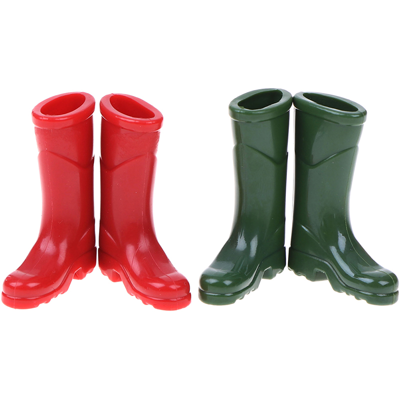 1Pairs 1/12 Scale Dollhouse Miniature Rubber Rain Boots Home Garden Yard Decoration Dolls Accessories Green Red