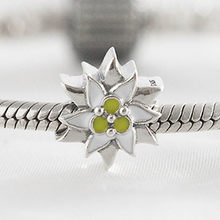 Authentieke S925 Bead Edelweiss Charms Fit Lady Armband Diy Sieraden Wit & Geel Enamel(China)