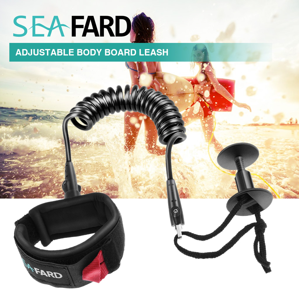 Professional 4ft Bodyboard Coiled Leash Heavy Duty Surfboard SUP Stand Up Paddle Board, Surfing Wrist Leash Legrope