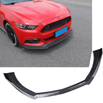 New 3 Pcs Car Front Bumper Lip Chin Spoiler Splitters Diffuser Body Kits For Ford For Mustang 2015 2016 2017 Black ABS