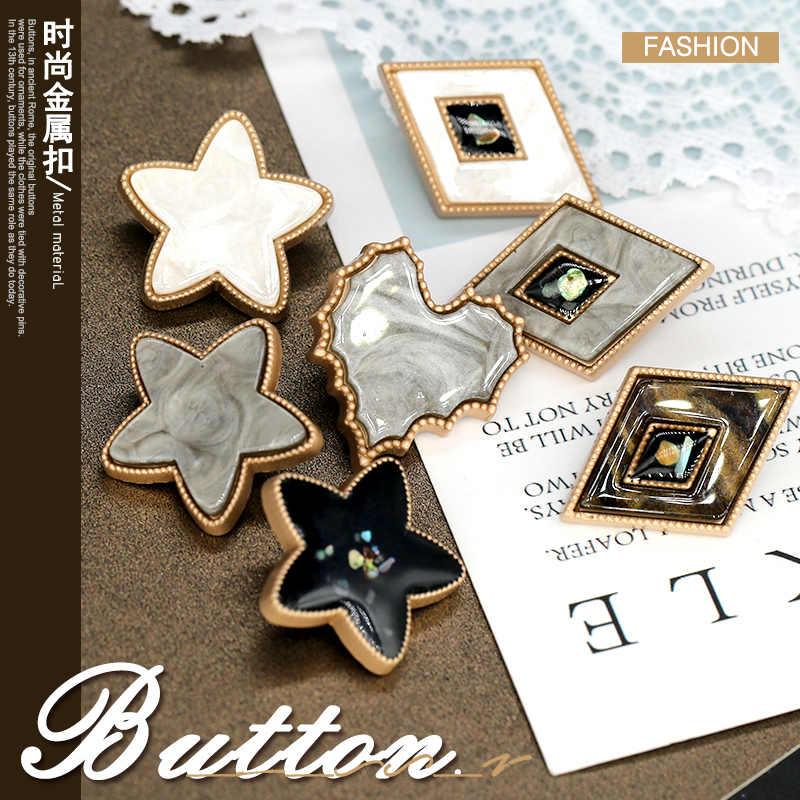 3 adet Pentagram yıldız kalp yaprak elmas inci düğmeler CC boncuk Vintage bayan elbise ceket düğmesi giyim dikiş aksesuarları kabuk