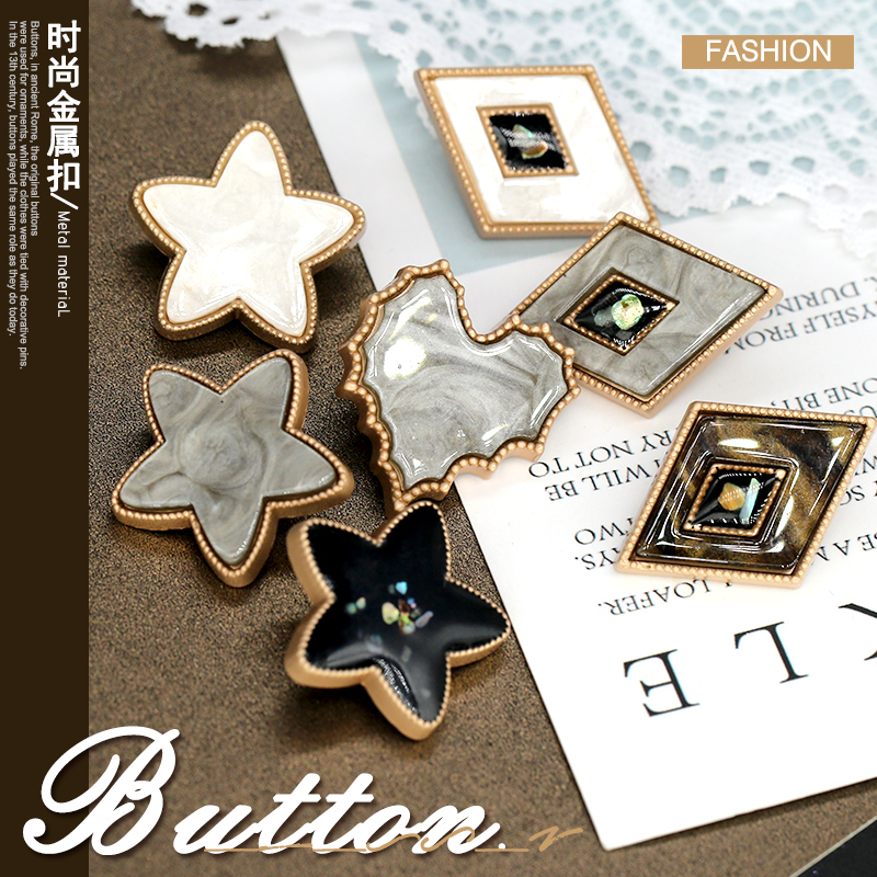 3pcs Pentagram Star Heart Leaf Diamond Pearl Buttons CC Bead Vintage Lady Dress Coat Button Clothing Sewing Accessories Shell(China)