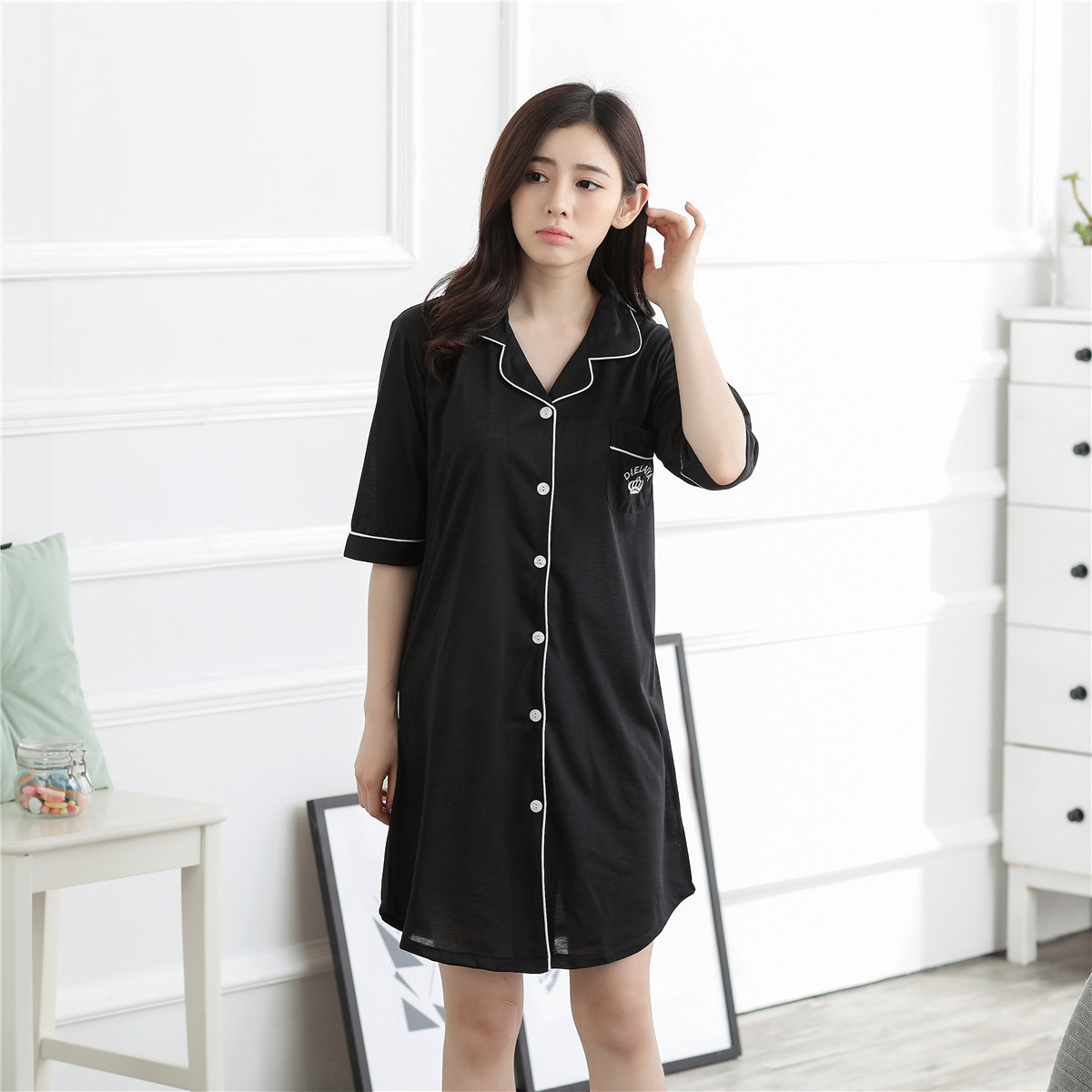 2017 New Style Summer Pajamas Short Sleeve Women's Korean-style Knitted Fabric Victoria's Secret Short Skirt Shirt Home Wear