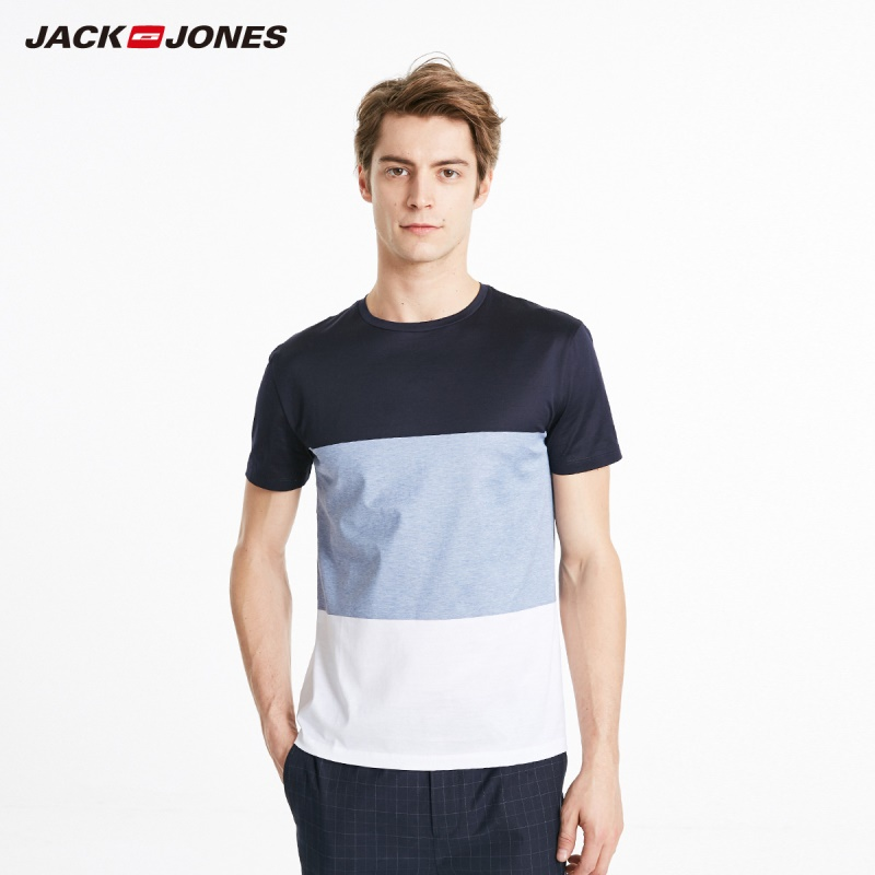 JackJones Men's Spring New Arrival 100% Cotton Assorted Colors Short-sleeved T-shirt Basic Menswear| 219201555
