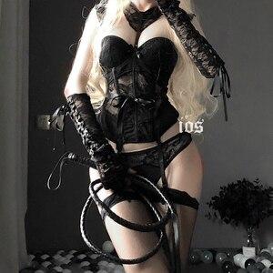 Image 1 - Combinaison de corps en dentelle pour filles, Lingerie japonaise Sexy, ceinture amincissante, sous vêtements transparents, Bustier et Corset ajouré