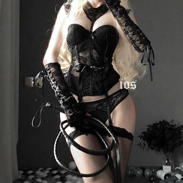 Combinaison de corps en dentelle pour filles, Lingerie japonaise Sexy, ceinture amincissante, sous vêtements transparents, Bustier et Corset ajouré