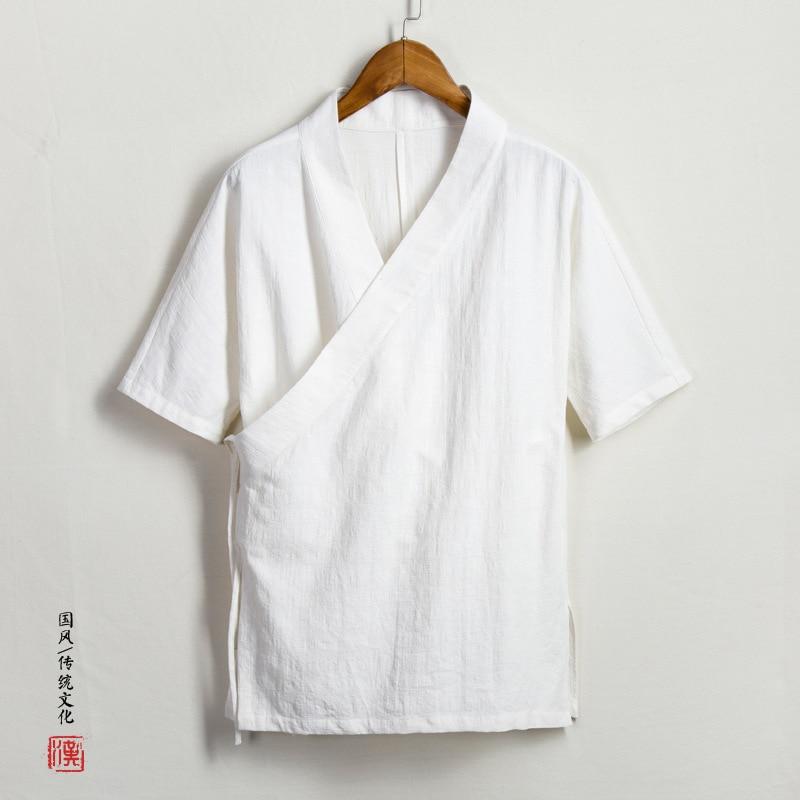 Summer Wear Long Sweater Men'S Wear Cotton Linen Chinese Clothing Improved Mid-length Xie Kou Coat Half-sleeve Shirt Three-quart