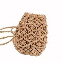 6PCS / LOT Women Mini Boho Straw Backpacks Shoulder Bag For Teenager Ladies Girl Beach Knitting Bagpack Mochila Summer Rucksack