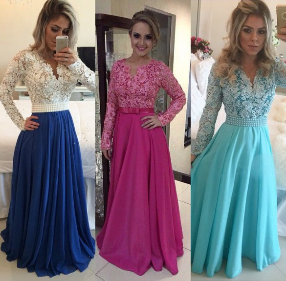 Vestido de festa Beaded Lace Long Evening gown Long Sleeves Blue Women Prom Party Special Occasion mother of the bride dresses