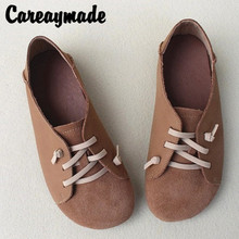 Careaymade-Genuine Leather lazy shoes,pure handmade retro Korean version Sen womens single shoes with soft flat sole