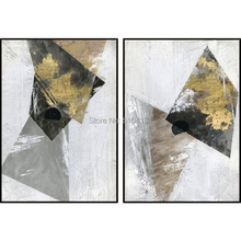 pure handmade abstract black and white oil painting on canvas gold foil modern wall art for home decor unframed